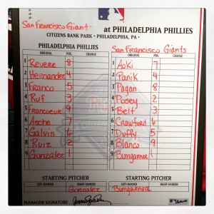 The Phillies still have a lineup board to those who utilize them.